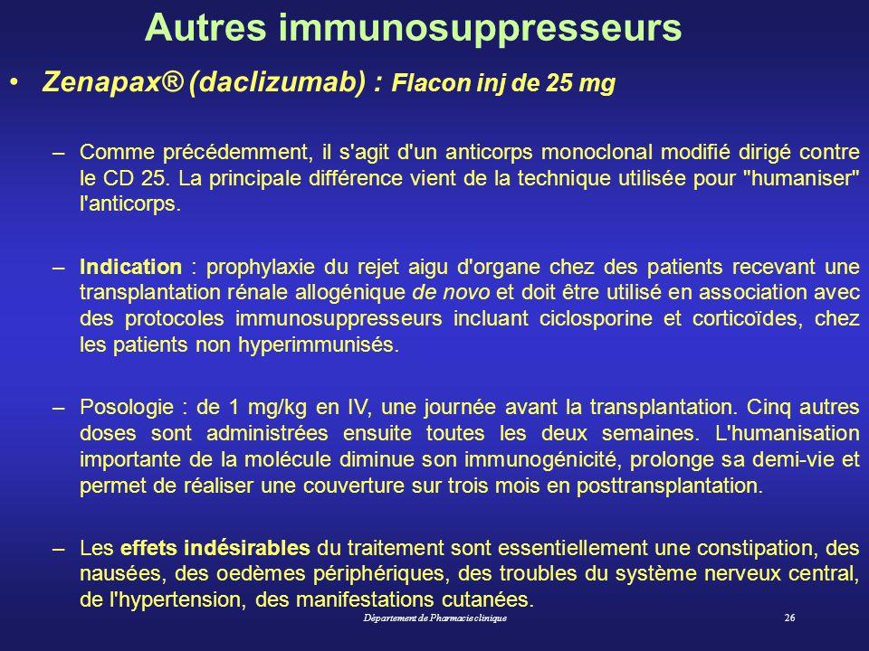 Département de Pharmacie clinique26 Zenapax® (daclizumab) : Flacon inj de 25 mg –Comme précédemment, il s'agit d'un anticorps monoclonal modifié dirig