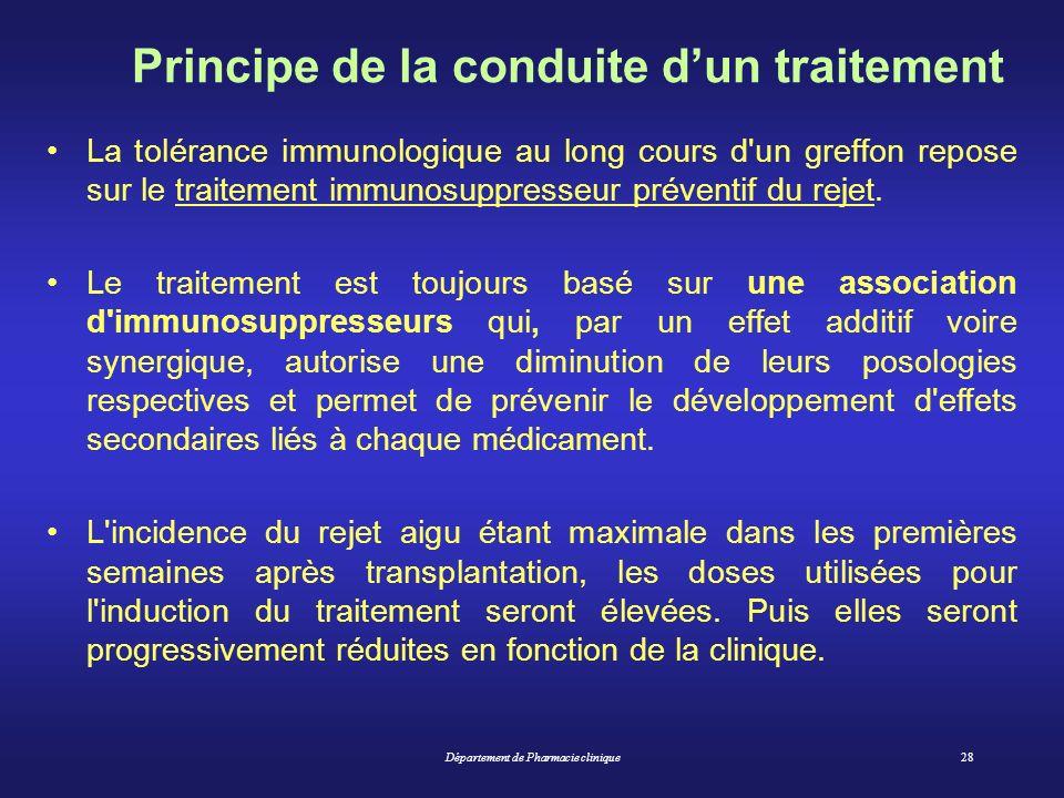 Département de Pharmacie clinique28 Principe de la conduite dun traitement La tolérance immunologique au long cours d'un greffon repose sur le traitem