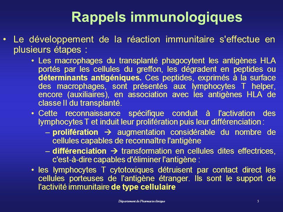 Département de Pharmacie clinique5 Rappels immunologiques Le développement de la réaction immunitaire s'effectue en plusieurs étapes : Les macrophages