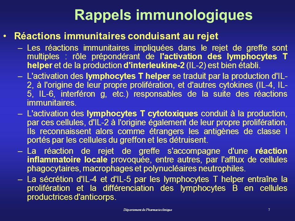Département de Pharmacie clinique8 Rappels immunologiques Le rejet du greffon : 3 types de rejets –le rejet hyperaigu : exceptionnel, dans les jours suivant la transplantation, nécessite limmunisation préalable acquise du receveur.