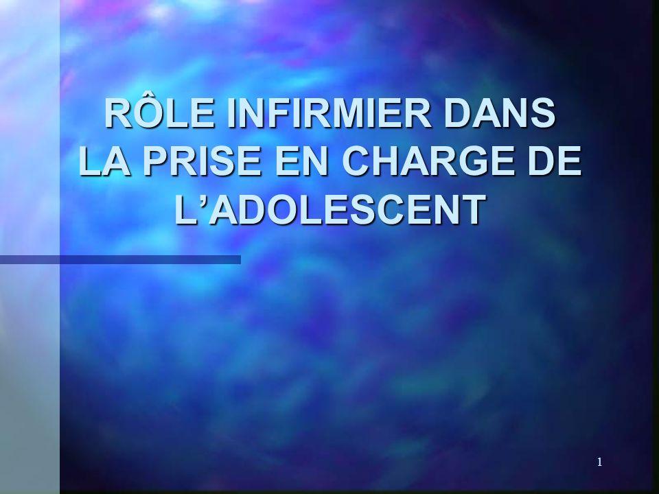1 RÔLE INFIRMIER DANS LA PRISE EN CHARGE DE LADOLESCENT