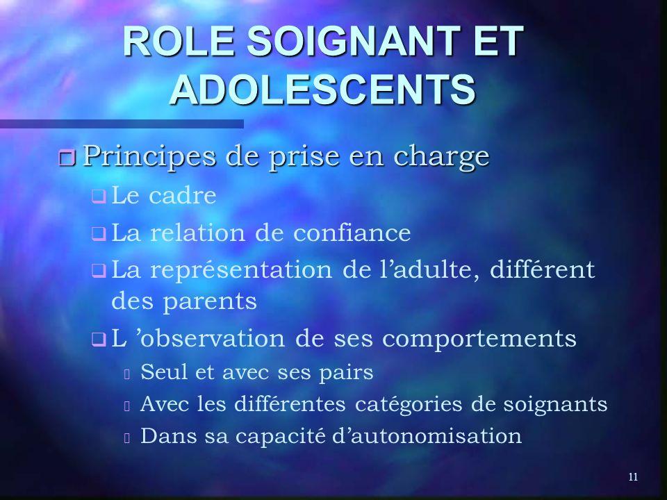 11 ROLE SOIGNANT ET ADOLESCENTS r Principes de prise en charge q q Le cadre q q La relation de confiance q q La représentation de ladulte, différent d