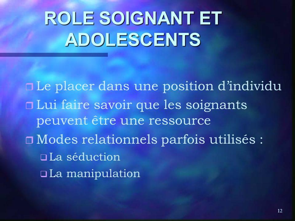 12 ROLE SOIGNANT ET ADOLESCENTS r r Le placer dans une position dindividu r r Lui faire savoir que les soignants peuvent être une ressource r r Modes