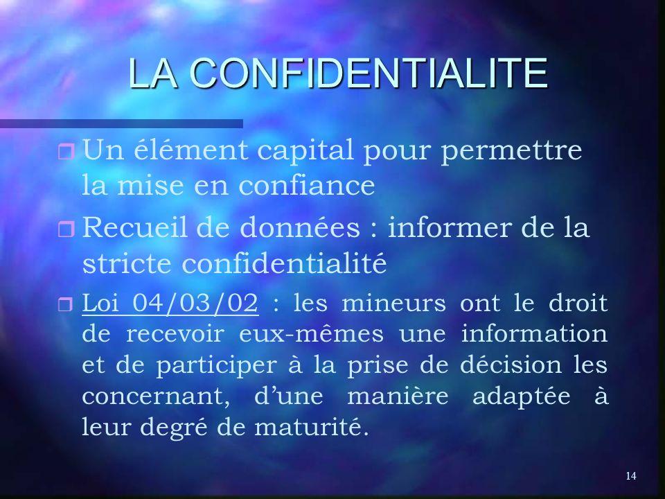 14 LA CONFIDENTIALITE r r Un élément capital pour permettre la mise en confiance r r Recueil de données : informer de la stricte confidentialité r r L