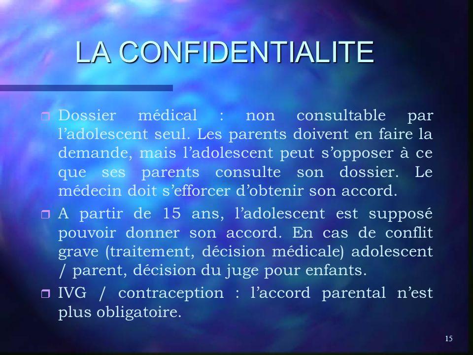 15 LA CONFIDENTIALITE r r Dossier médical : non consultable par ladolescent seul. Les parents doivent en faire la demande, mais ladolescent peut soppo