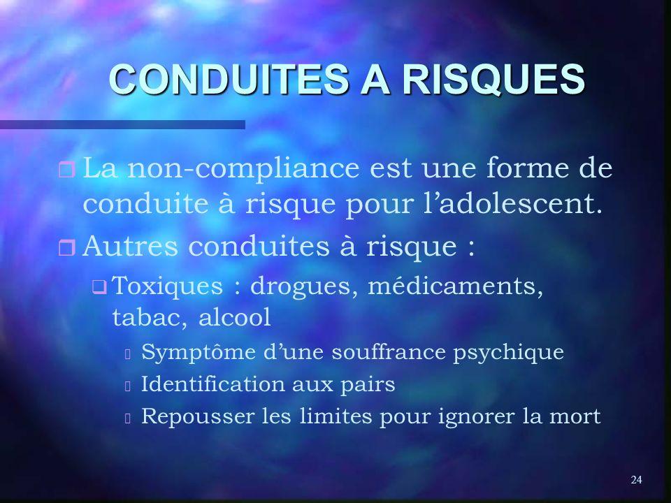 24 CONDUITES A RISQUES r r La non-compliance est une forme de conduite à risque pour ladolescent. r r Autres conduites à risque : q q Toxiques : drogu