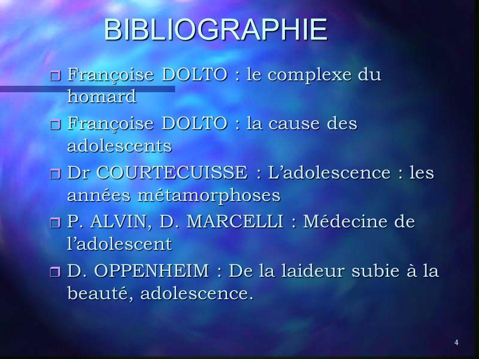 4 BIBLIOGRAPHIE r Françoise DOLTO : le complexe du homard r Françoise DOLTO : la cause des adolescents r Dr COURTECUISSE : Ladolescence : les années m