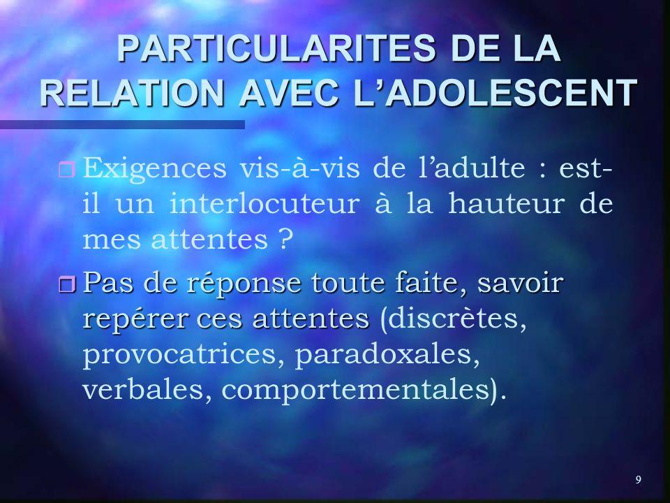9 PARTICULARITES DE LA RELATION AVEC LADOLESCENT r r Exigences vis-à-vis de ladulte : est- il un interlocuteur à la hauteur de mes attentes ? r Pas de