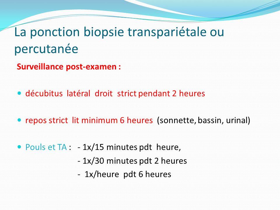 Surveillance post-examen : décubitus latéral droit strict pendant 2 heures repos strict lit minimum 6 heures (sonnette, bassin, urinal) Pouls et TA :