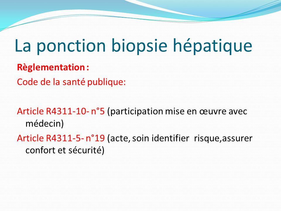 La ponction biopsie hépatique Règlementation : Code de la santé publique: Article R4311-10- n°5 (participation mise en œuvre avec médecin) Article R43