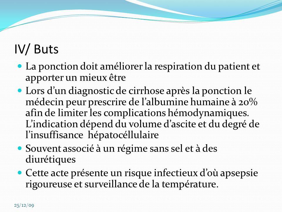 IV/ Buts La ponction doit améliorer la respiration du patient et apporter un mieux être Lors dun diagnostic de cirrhose après la ponction le médecin p