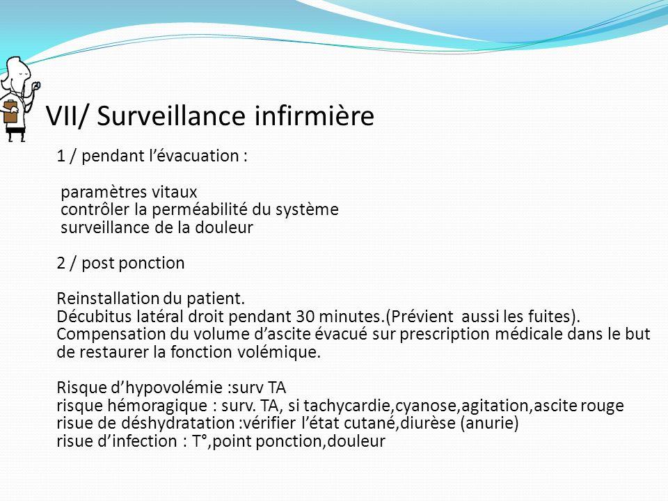 VII/ Surveillance infirmière 1 / pendant lévacuation : paramètres vitaux contrôler la perméabilité du système surveillance de la douleur 2 / post ponc