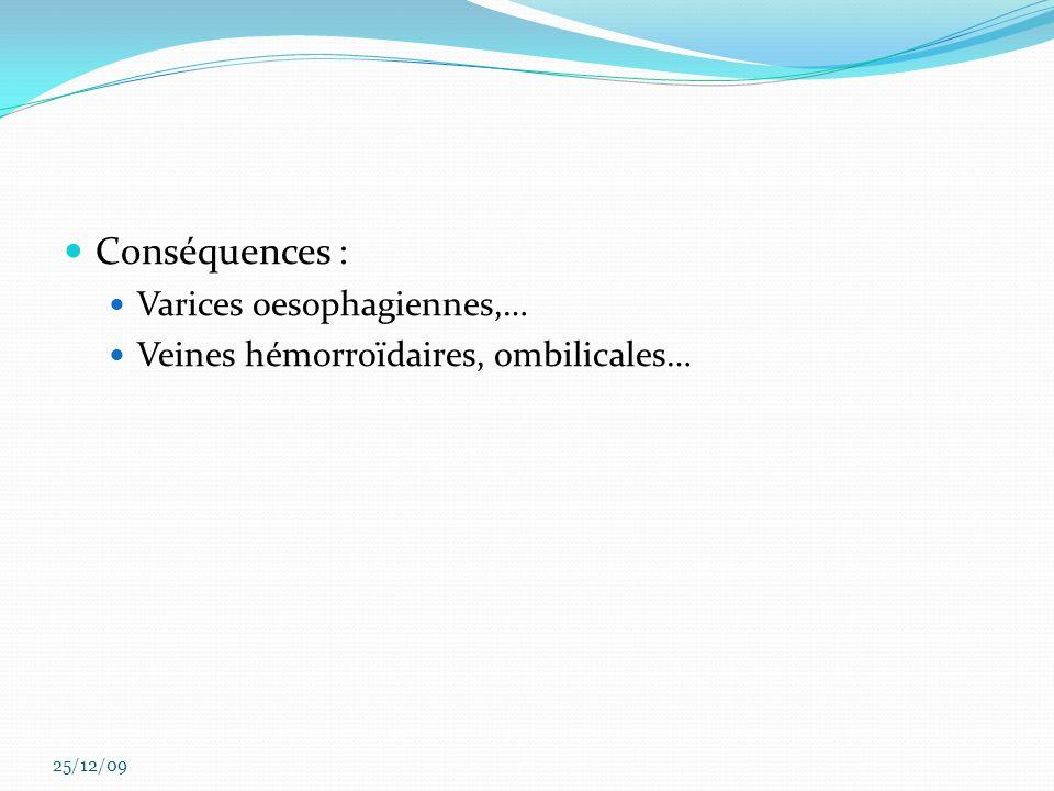 Conséquences : Varices oesophagiennes,… Veines hémorroïdaires, ombilicales… 25/12/09