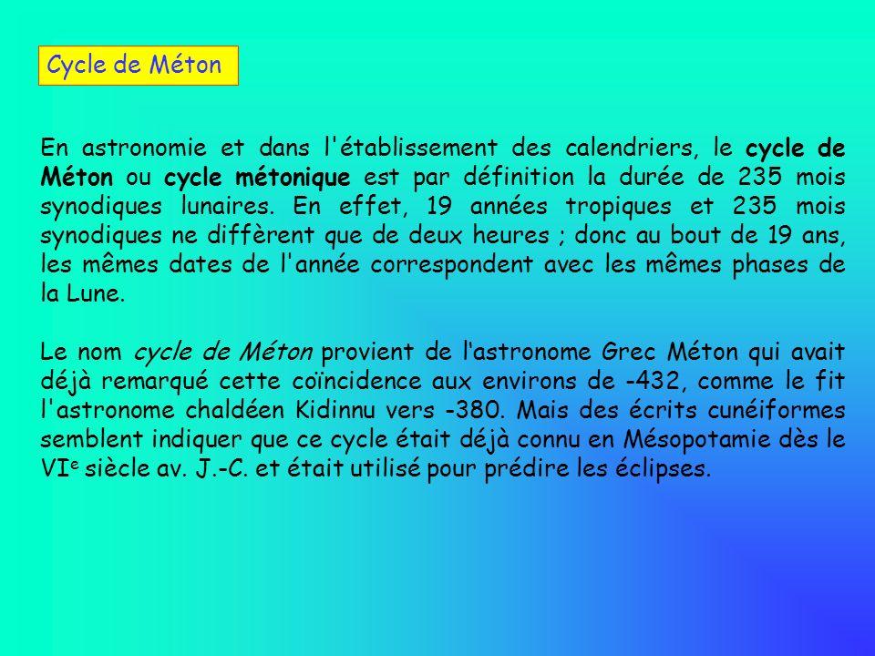 En astronomie et dans l'établissement des calendriers, le cycle de Méton ou cycle métonique est par définition la durée de 235 mois synodiques lunaire