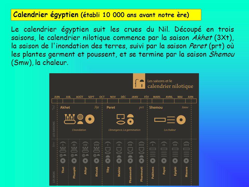 Le calendrier égyptien suit les crues du Nil. Découpé en trois saisons, le calendrier nilotique commence par la saison Akhet (3Xt), la saison de l'ino