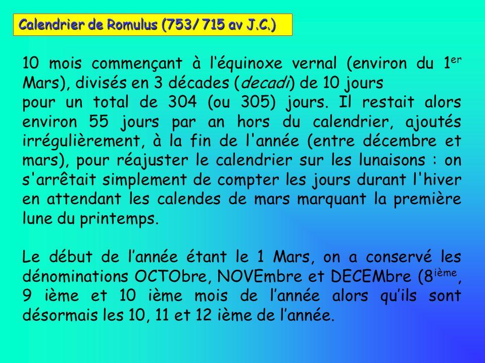 10 mois commençant à léquinoxe vernal (environ du 1 er Mars), divisés en 3 décades (decadi) de 10 jours pour un total de 304 (ou 305) jours. Il restai