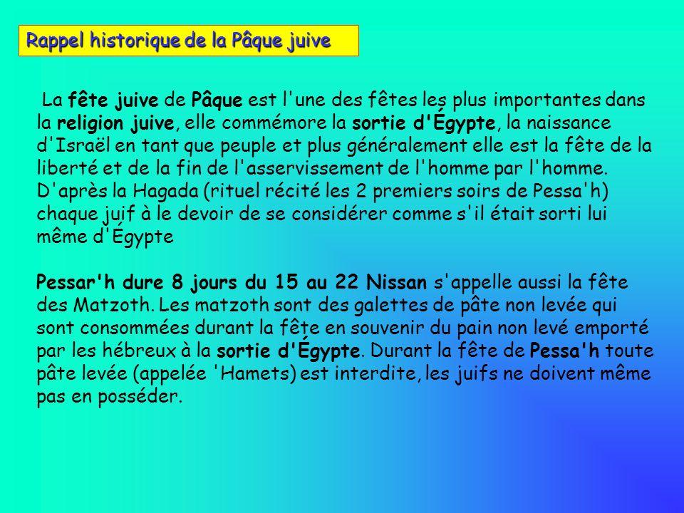 La fête juive de Pâque est l'une des fêtes les plus importantes dans la religion juive, elle commémore la sortie d'Égypte, la naissance d'Israël en ta