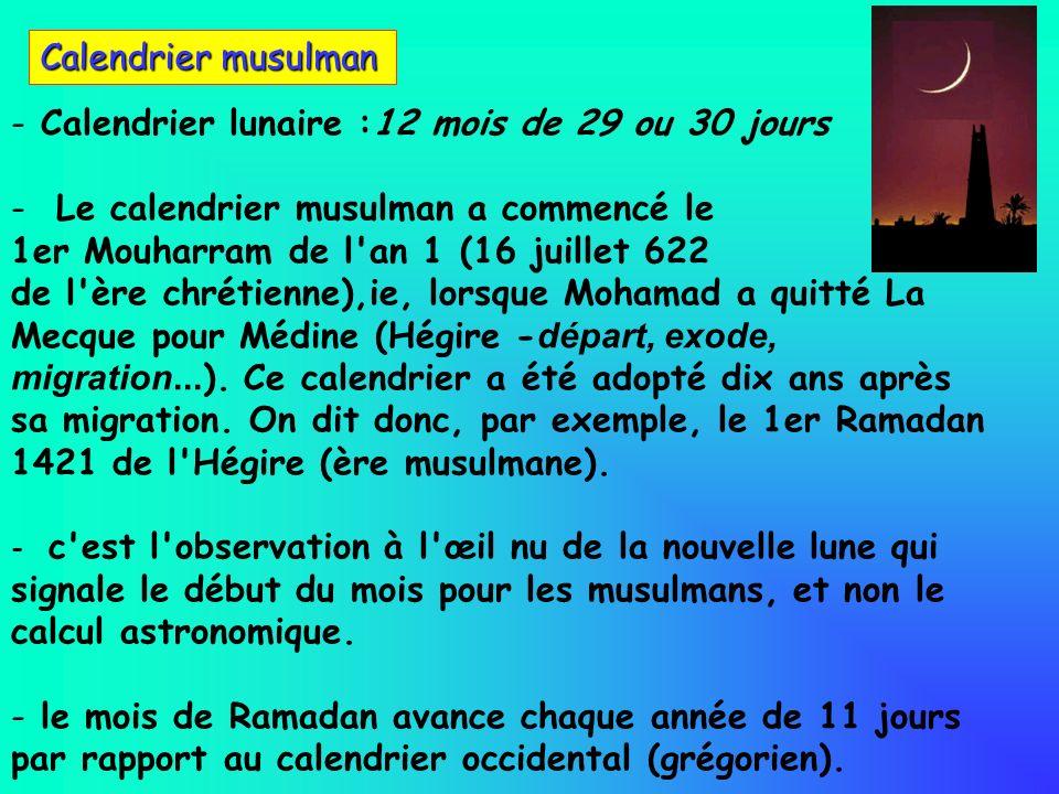 - - Calendrier lunaire :12 mois de 29 ou 30 jours - - Le calendrier musulman a commencé le 1er Mouharram de l'an 1 (16 juillet 622 de l'ère chrétienne