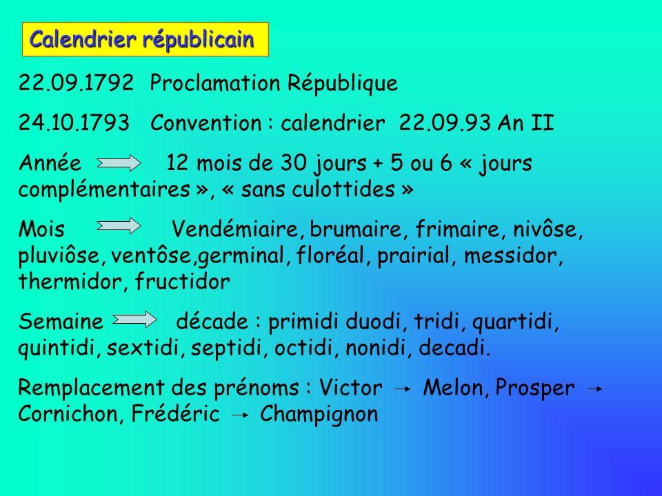 Calendrier républicain 22.09.1792Proclamation République 24.10.1793Convention : calendrier 22.09.93 An II Année 12 mois de 30 jours + 5 ou 6 « jours c