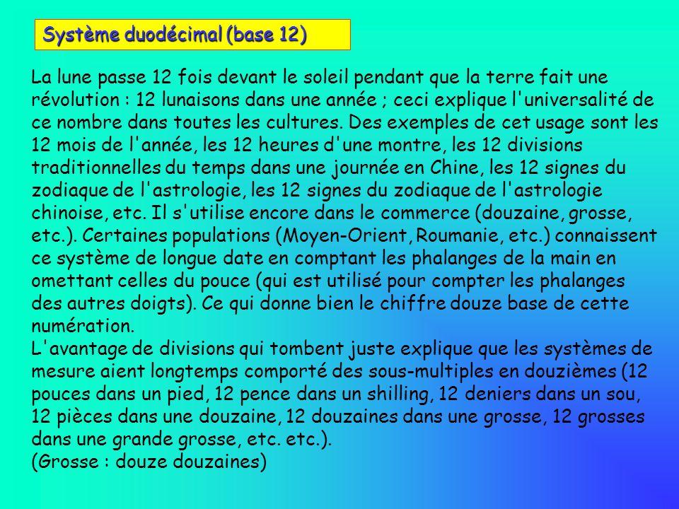 Système duodécimal (base 12) La lune passe 12 fois devant le soleil pendant que la terre fait une révolution : 12 lunaisons dans une année ; ceci expl