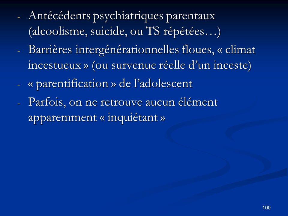 100 - Antécédents psychiatriques parentaux (alcoolisme, suicide, ou TS répétées…) - Antécédents psychiatriques parentaux (alcoolisme, suicide, ou TS répétées…) - Barrières intergénérationnelles floues, « climat incestueux » (ou survenue réelle dun inceste) - Barrières intergénérationnelles floues, « climat incestueux » (ou survenue réelle dun inceste) - « parentification » de ladolescent - Parfois, on ne retrouve aucun élément apparemment « inquiétant »