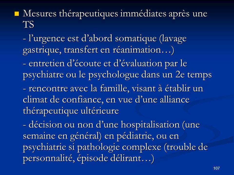 107 Mesures thérapeutiques immédiates après une TS Mesures thérapeutiques immédiates après une TS - lurgence est dabord somatique (lavage gastrique, transfert en réanimation…) - lurgence est dabord somatique (lavage gastrique, transfert en réanimation…) - entretien découte et dévaluation par le psychiatre ou le psychologue dans un 2e temps - rencontre avec la famille, visant à établir un climat de confiance, en vue dune alliance thérapeutique ultérieure - décision ou non dune hospitalisation (une semaine en général) en pédiatrie, ou en psychiatrie si pathologie complexe (trouble de personnalité, épisode délirant…) - décision ou non dune hospitalisation (une semaine en général) en pédiatrie, ou en psychiatrie si pathologie complexe (trouble de personnalité, épisode délirant…)