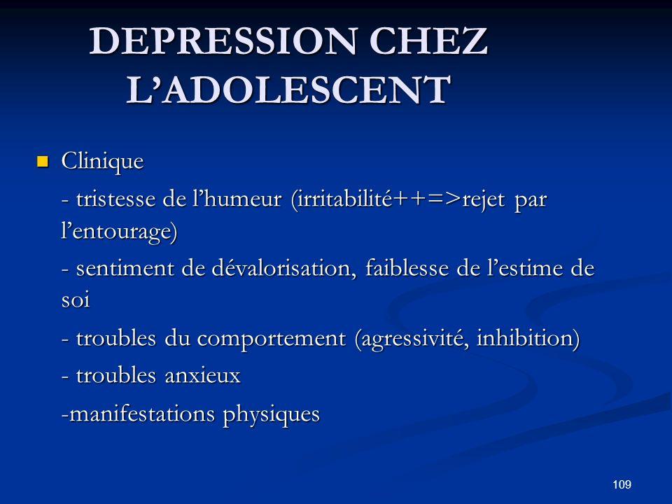 109 DEPRESSION CHEZ LADOLESCENT Clinique Clinique - tristesse de lhumeur (irritabilité++=>rejet par lentourage) - tristesse de lhumeur (irritabilité++