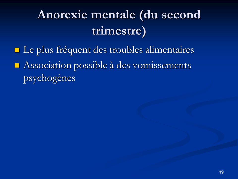 19 Anorexie mentale (du second trimestre) Anorexie mentale (du second trimestre) Le plus fréquent des troubles alimentaires Le plus fréquent des troubles alimentaires Association possible à des vomissements psychogènes Association possible à des vomissements psychogènes