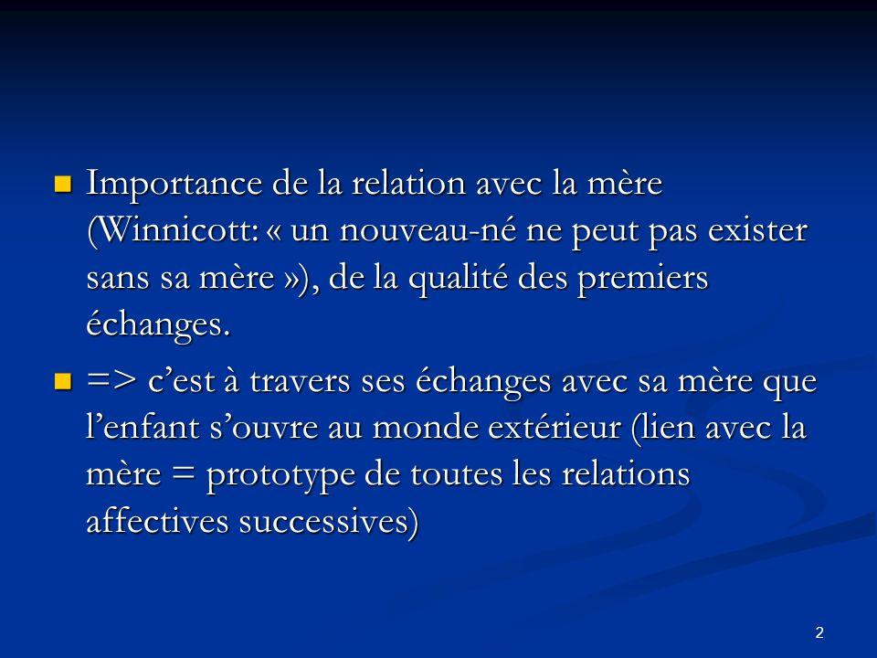 2 Importance de la relation avec la mère (Winnicott: « un nouveau-né ne peut pas exister sans sa mère »), de la qualité des premiers échanges. Importa
