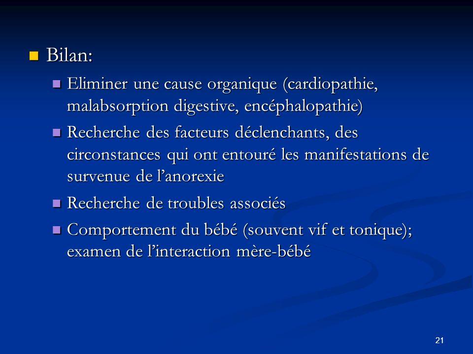 21 Bilan: Bilan: Eliminer une cause organique (cardiopathie, malabsorption digestive, encéphalopathie) Eliminer une cause organique (cardiopathie, malabsorption digestive, encéphalopathie) Recherche des facteurs déclenchants, des circonstances qui ont entouré les manifestations de survenue de lanorexie Recherche des facteurs déclenchants, des circonstances qui ont entouré les manifestations de survenue de lanorexie Recherche de troubles associés Recherche de troubles associés Comportement du bébé (souvent vif et tonique); examen de linteraction mère-bébé Comportement du bébé (souvent vif et tonique); examen de linteraction mère-bébé