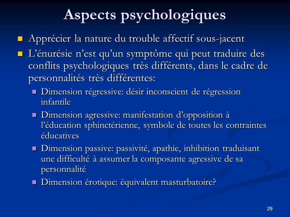 29 Aspects psychologiques Apprécier la nature du trouble affectif sous-jacent Apprécier la nature du trouble affectif sous-jacent Lénurésie nest quun