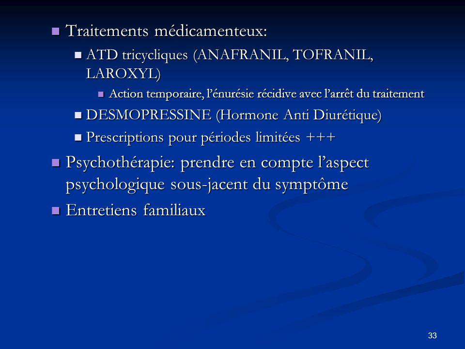 33 Traitements médicamenteux: Traitements médicamenteux: ATD tricycliques (ANAFRANIL, TOFRANIL, LAROXYL) ATD tricycliques (ANAFRANIL, TOFRANIL, LAROXYL) Action temporaire, lénurésie récidive avec larrêt du traitement Action temporaire, lénurésie récidive avec larrêt du traitement DESMOPRESSINE (Hormone Anti Diurétique) DESMOPRESSINE (Hormone Anti Diurétique) Prescriptions pour périodes limitées +++ Prescriptions pour périodes limitées +++ Psychothérapie: prendre en compte laspect psychologique sous-jacent du symptôme Psychothérapie: prendre en compte laspect psychologique sous-jacent du symptôme Entretiens familiaux Entretiens familiaux