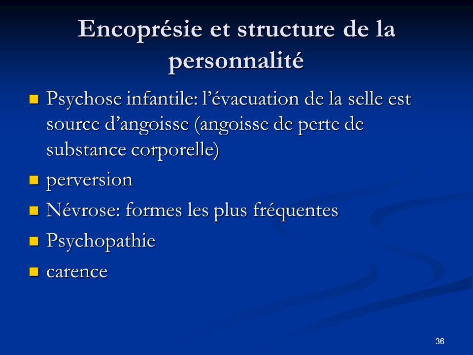 36 Encoprésie et structure de la personnalité Psychose infantile: lévacuation de la selle est source dangoisse (angoisse de perte de substance corpore