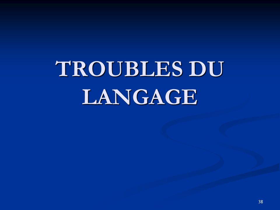 38 TROUBLES DU LANGAGE