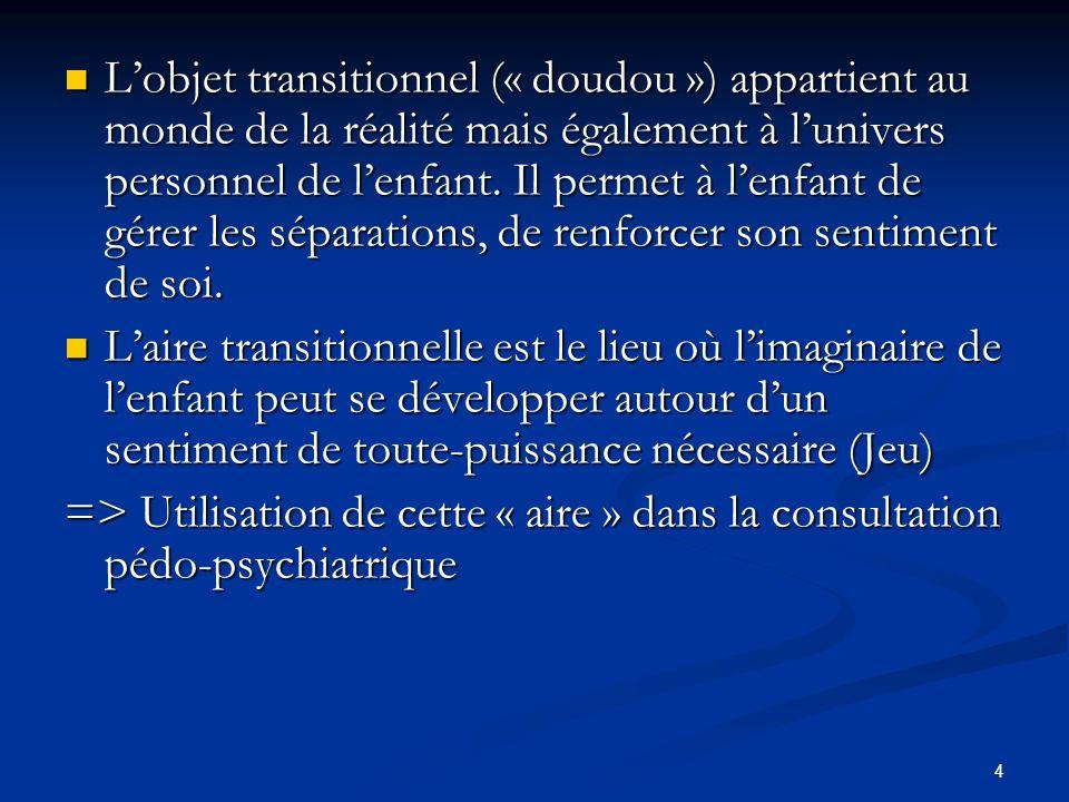 4 Lobjet transitionnel (« doudou ») appartient au monde de la réalité mais également à lunivers personnel de lenfant. Il permet à lenfant de gérer les