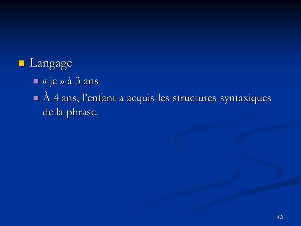 43 Langage Langage « je » à 3 ans « je » à 3 ans À 4 ans, lenfant a acquis les structures syntaxiques de la phrase. À 4 ans, lenfant a acquis les stru
