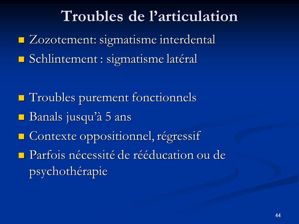 44 Troubles de larticulation Zozotement: sigmatisme interdental Zozotement: sigmatisme interdental Schlintement : sigmatisme latéral Schlintement : si
