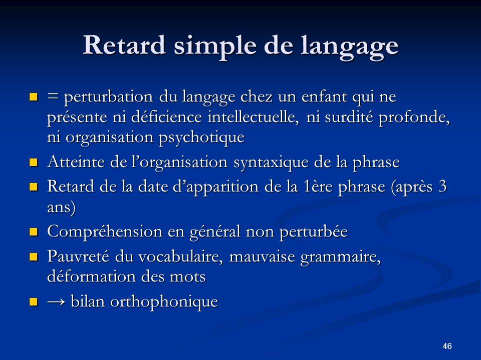 46 Retard simple de langage = perturbation du langage chez un enfant qui ne présente ni déficience intellectuelle, ni surdité profonde, ni organisatio