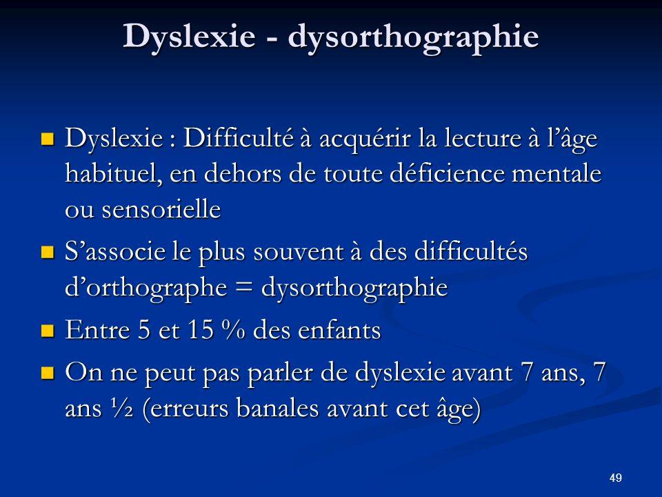 49 Dyslexie - dysorthographie Dyslexie : Difficulté à acquérir la lecture à lâge habituel, en dehors de toute déficience mentale ou sensorielle Dyslexie : Difficulté à acquérir la lecture à lâge habituel, en dehors de toute déficience mentale ou sensorielle Sassocie le plus souvent à des difficultés dorthographe = dysorthographie Sassocie le plus souvent à des difficultés dorthographe = dysorthographie Entre 5 et 15 % des enfants Entre 5 et 15 % des enfants On ne peut pas parler de dyslexie avant 7 ans, 7 ans ½ (erreurs banales avant cet âge) On ne peut pas parler de dyslexie avant 7 ans, 7 ans ½ (erreurs banales avant cet âge)