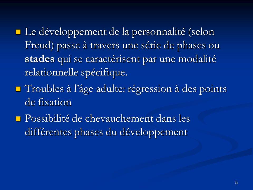 5 Le développement de la personnalité (selon Freud) passe à travers une série de phases ou stades qui se caractérisent par une modalité relationnelle spécifique.