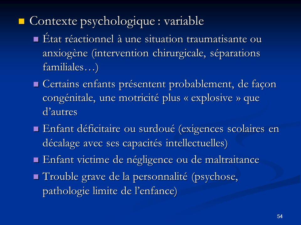 54 Contexte psychologique : variable Contexte psychologique : variable État réactionnel à une situation traumatisante ou anxiogène (intervention chiru