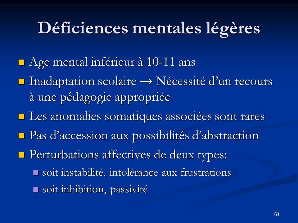 61 Déficiences mentales légères Age mental inférieur à 10-11 ans Age mental inférieur à 10-11 ans Inadaptation scolaire Nécessité dun recours à une pé