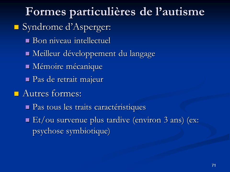 71 Formes particulières de lautisme Syndrome dAsperger: Syndrome dAsperger: Bon niveau intellectuel Bon niveau intellectuel Meilleur développement du