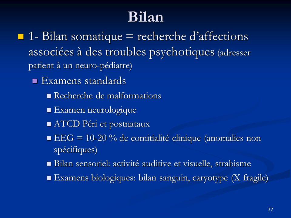 77 Bilan 1- Bilan somatique = recherche daffections associées à des troubles psychotiques (adresser patient à un neuro-pédiatre) 1- Bilan somatique =