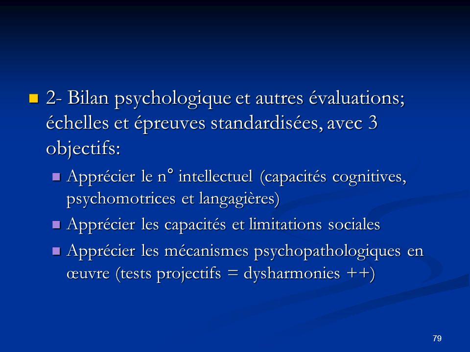 79 2- Bilan psychologique et autres évaluations; échelles et épreuves standardisées, avec 3 objectifs: 2- Bilan psychologique et autres évaluations; é