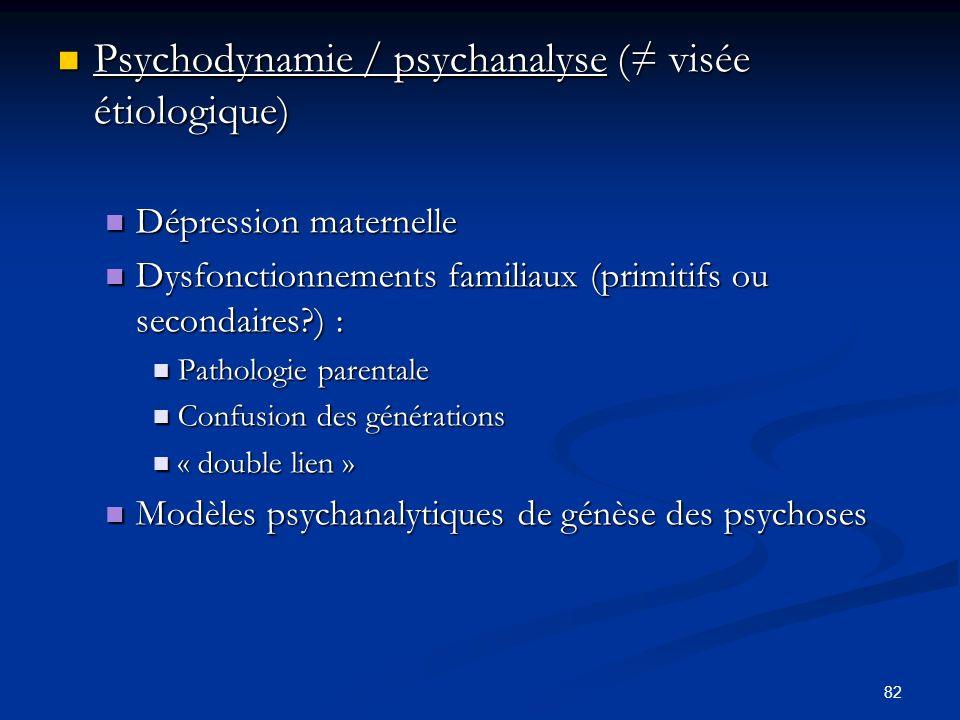 82 Psychodynamie / psychanalyse ( visée étiologique) Psychodynamie / psychanalyse ( visée étiologique) Dépression maternelle Dépression maternelle Dysfonctionnements familiaux (primitifs ou secondaires?) : Dysfonctionnements familiaux (primitifs ou secondaires?) : Pathologie parentale Pathologie parentale Confusion des générations Confusion des générations « double lien » « double lien » Modèles psychanalytiques de génèse des psychoses Modèles psychanalytiques de génèse des psychoses