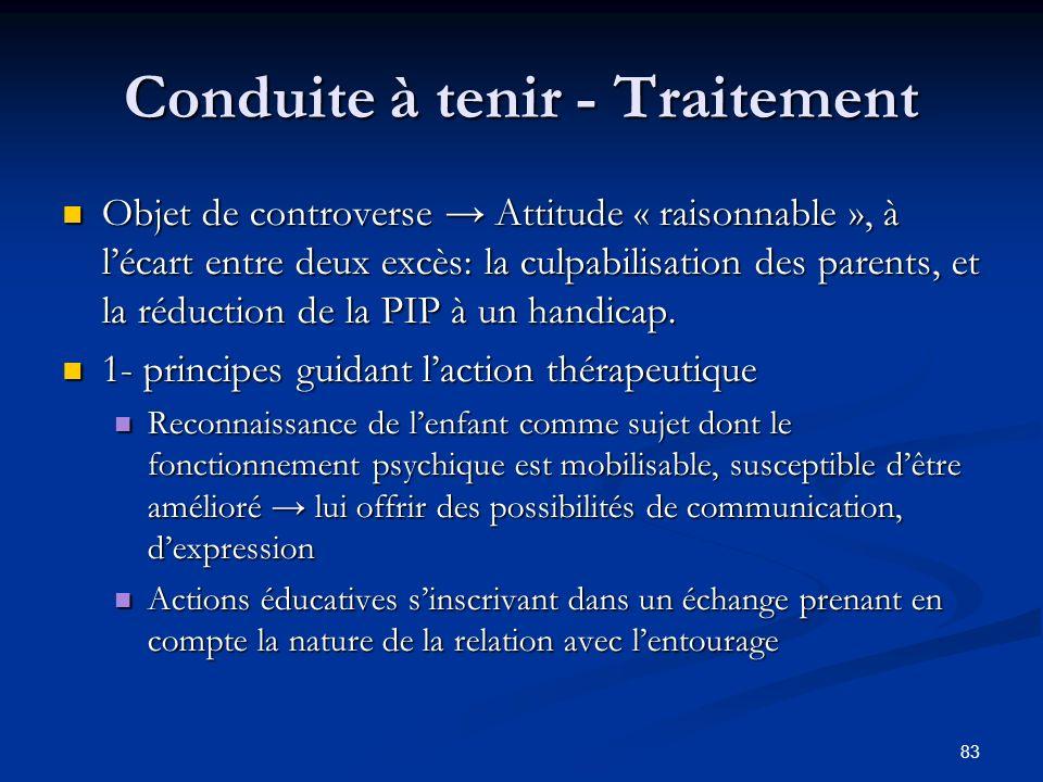 83 Conduite à tenir - Traitement Objet de controverse Attitude « raisonnable », à lécart entre deux excès: la culpabilisation des parents, et la réduction de la PIP à un handicap.