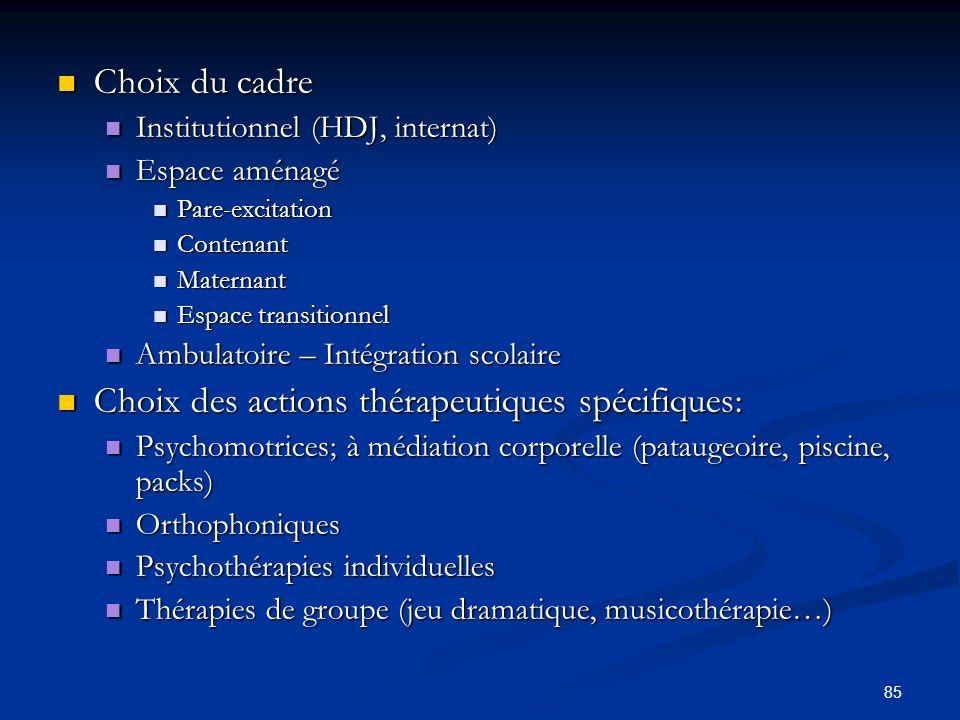 85 Choix du cadre Choix du cadre Institutionnel (HDJ, internat) Institutionnel (HDJ, internat) Espace aménagé Espace aménagé Pare-excitation Pare-exci