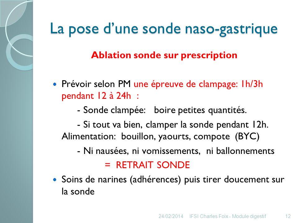 Laspiration gastrique Définition : Introduction dune sonde dans lestomac, pour: aspirer les sécrétions (normales ou pathologiques).