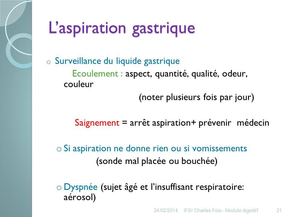 Laspiration gastrique Un patient porteur daspiration digestive peut être levé .